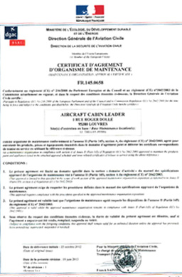 CERTIFICAT D'AGREMENT D'ORGANISME DE MAINTENANCE FR.145.0658